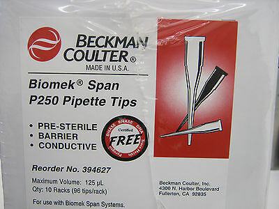 BOX OF 960 BECKMAN COULTER BIOMEK SPAN P250 PIPET TIPS 125μL