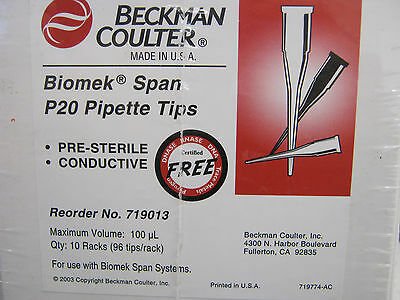 BOX OF 960 BECKMAN COULTER BIOMEK SPAN P20 PIPET TIPS 100μL