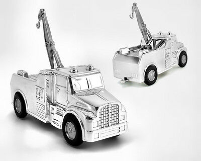 Personalised Tow Truck Money Box, Silver Plated Gift Engraved Gift