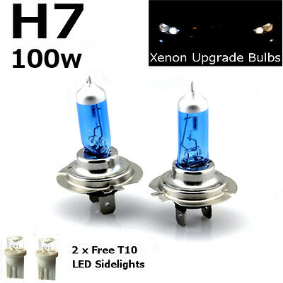 H7 100w SUPER WHITE XENON (499) 12v DIPPED Headlight Bulbs+ 501 LED Sidelights A