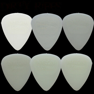 6 x Dunlop Nylon Glow Guitar Picks / Plectrums - 1 Of Each Type