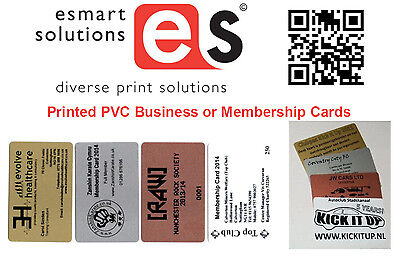 100 x Printed PVC Business or Membership Cards (White/Copper/Silver/Gold)