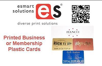 100 x Business or Membership Plastic Cards Printed with a Gold or Silver design