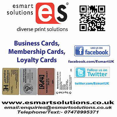 100 x Printed PVC Business or Membership Cards (Various Coloured cards avail)