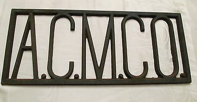 Old Industrial Cast Iron Sign A.C.M.C.O