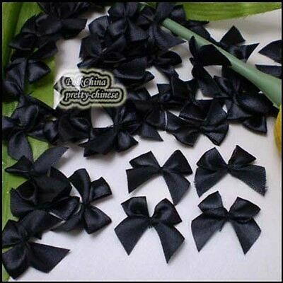 Black Satin 20mm Bows Satin Ribbons 10mm Appliques Scrapbooking Cardmaking