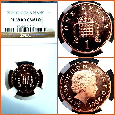 Great Britain 2005 One  Penny  Proof- 68 Rd Cameo Ngc