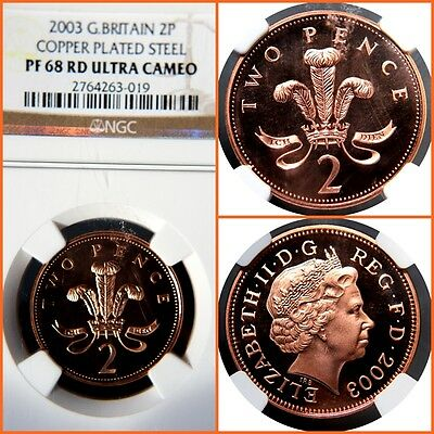 GREAT BRITAIN 2003 2 PENCE COPPER PLATED STEEL PROOF-68 ULTRA CAMEO NGC