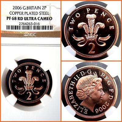 GREAT BRITAIN 2006 2 PENCE COPPER PLATED STEEL PROOF-68 ULTRA CAMEO NGC