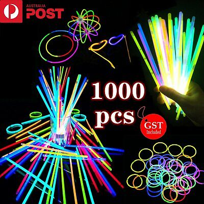 1000 mixed Colour Glow Sticks Light Bracelets Glowsticks Party Glow in the dark