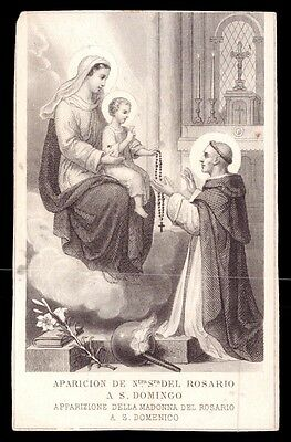Antique Holy Card PRINT Apparition of OUR LADY ROSARY to SAINT DOMINIC