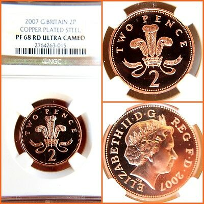 GREAT BRITAIN 2007 2 PENCE COPPER PLATED STEEL PROOF-68 ULTRA CAMEO NGC