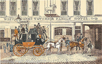 Vintage 1928 MATTED Color Print Picture HORSE & CARRIAGE London Inn HOTEL Travel