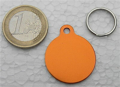 MEDAILLE GRAVEE RONDE ORANGE CHIEN CHAT collier medalla cane hund katze