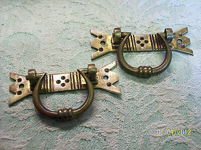 Pair of Early Reclaimed Brass Drawer  Pulls V51