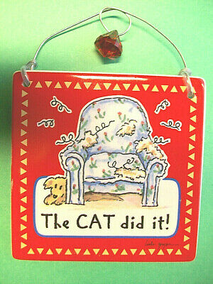 """THE CAT DID IT! Ceramic Wall Plaque/Decoration Tile * Tumbleweed Pottery 5"""" x 5"""""""