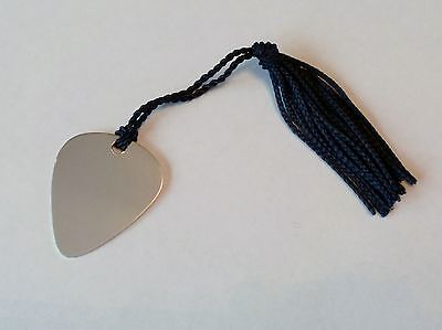 Personalised Engraved Guitar Pick Plectrum Bookmark Silver Plated