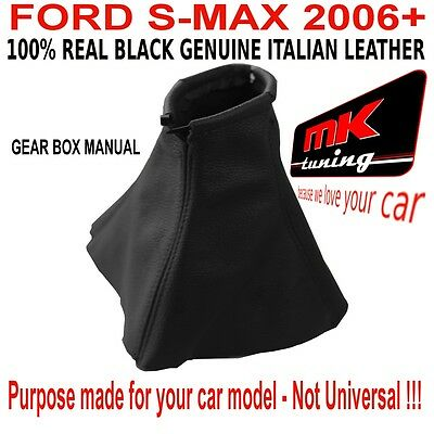 Ford S Max 2006+ Gear Shift Gaiter Gaitor Cover Leather Black Stitch