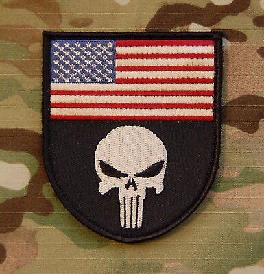 Embroidered Punisher US Flag Patch SEAL Team 6 CAG VELCRO® Brand Fastener
