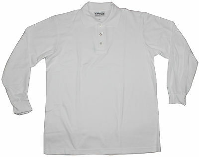 Long Sleeve Kids Polo Shirt White Size 6 8 10 12 14 16 Australian Made New!