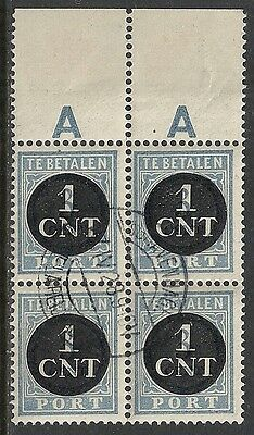 Netherlands stamps 1923 NVPH Due 61 MarginBloc of 4  CANC  VF