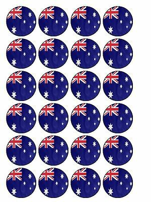 """30 x Australian Oz Australia 1.5"""" Edible Cup Cake Toppers  (All Flags Available)"""