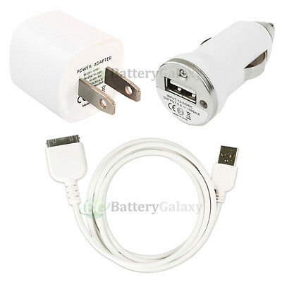 USB Wall AC Charger+Data Cable+Car for iPod Touch Nano iPhone 2G 3G 3GS 4 4G 4S