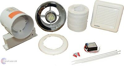 IN LINE BATHROOM SHOWER WC TOILET EXTRACT FAN LIGHT KIT - Run On Timer