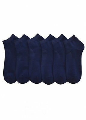 6 Packs Ankle Cool Socks Sport Mens Womens Size 9-11 Low Cut Lot NWT #70033NAVY