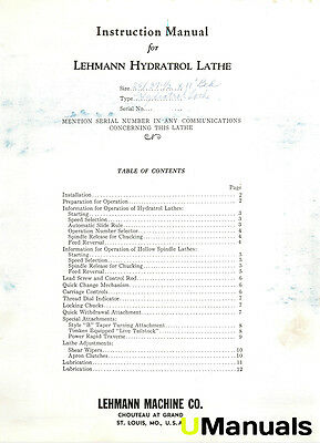 Lehmann Hydratol Lathe Instruction Manual