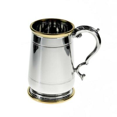 Personalised Wentworth Hallam Pint Pewter and Brass Tankard Engraved Gift