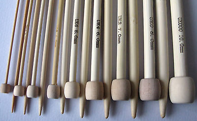 "Bamboo Single Pointed Knitting Needles SP 34cm/13 1/2"" medium length"