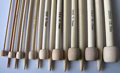 "Bamboo Single Pointed Knitting Needles SP approx  34cm/13 1/2"" medium length"