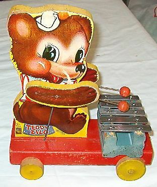 Cool Early 1946 Fisher Price 5-Key Teddy Xylophone Pull Toy