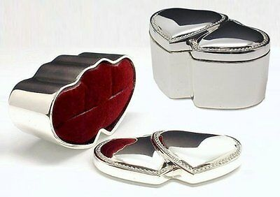 Personalised Silver Plated Double Heart Wedding Ring Box Engraved
