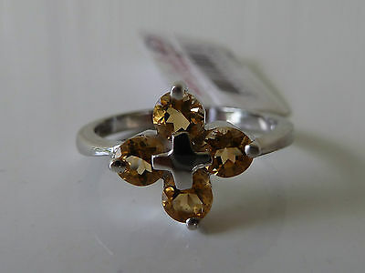 925 Sterling silver CZ Ring Size 7 (Crystal Amber)  Womens fashion Jewellery NWT