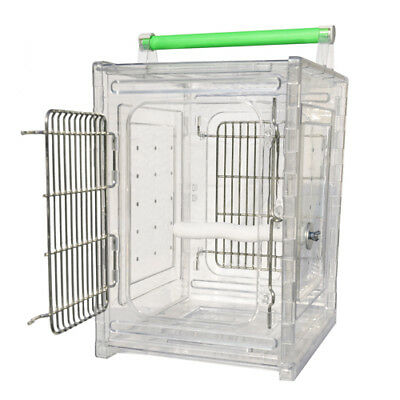 Parrot Carrier Bird Travel Cage Sleep Carrier Acrylic Clear Secure Panels