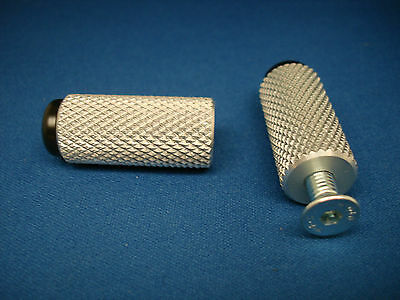 Motorcycle Knurled Alloy Toe Pegs (1 Pair) Silver. Tp4.