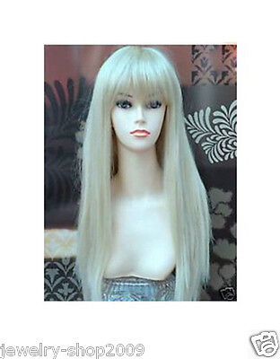 Title551 Cosplay New long Platinum-Blonde Straight Women's Wig