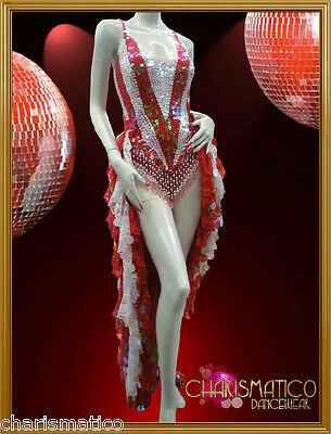 601086d5 CHARISMATICO WHITE RED Show GIRL Sequin Bodysuit with Ruffle Tail ...
