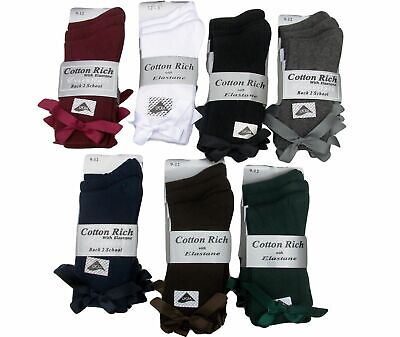 3 Pairs Girls 9-12 75% Cotton School / Dress  Bow Ankle Socks