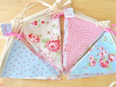 Cath Kidston Fabric Bunting Shabby Chic Wedding Party Vintage Decorations 12FT