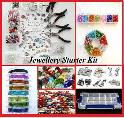 Deluxe Jewellery Making Kit, Beads/findings/pliers/tigertail/elastic/beads