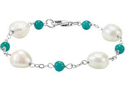 Genuine Turquoise and Genuine Baroque Pearl Sterling Silver 7 1/2 inch Bracelet