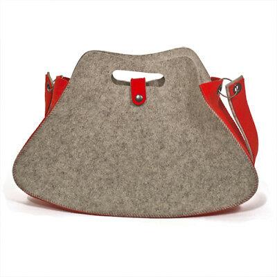 Fashion Tote- 19 X 12 Inch Grey, Red