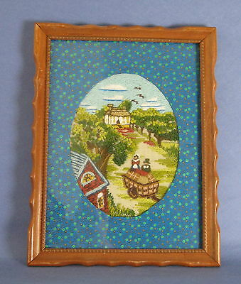 Completed Crewel Embroidery Tapestry Picture Farm Cart Pastoral Buildings Framed