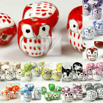 10 Loose Porcelain Ceramic Animal Bird Owl Charm Spacer Beads Findings Wholesale