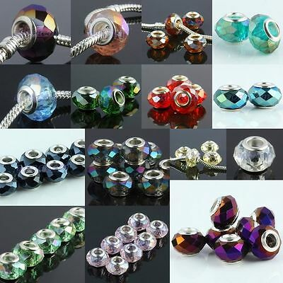 Wholesale Faceted Crystal Glass Loose Spacer Beads Fits European Charms Bracelet