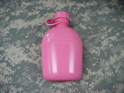 New, Us 1 Quart Collapsible Plastic Canteen, Pink
