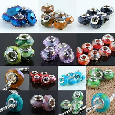 Wholesale AB Crystal Glass Rondelle Large Hole Loose Beads Fit Charms Bracelet
